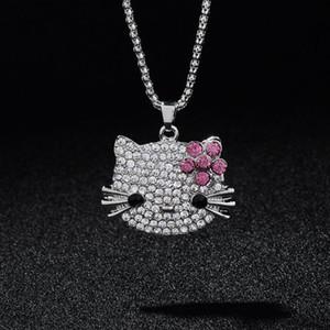 Nueva llegada de moda colgantes largos collares Rhinestone lleno lindo Hello Kitty Bowknot KT Cat joyería para niñas collar