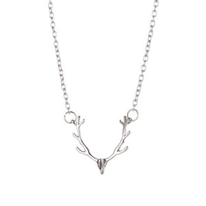 Horns of Elk Pendants Animal Pendant Necklaces Gold Silver Rose Gold Antlers Charm Necklace Women Fashion Jewelry