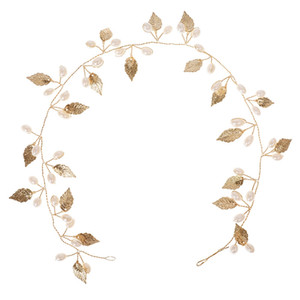 New Party Wedding Hair Jewelry Accessories Gold-Color Leaf Costume Hair Chain Hairwear Metal Wedding Headchain For Women