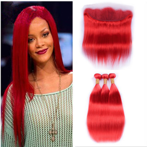 New Arrive Red Color Hair Bundlles With Lace Frontal 13x4 Human Hair Weaves With Bundles Red Slik Straight Hair 4pcs Lot