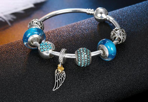 Europa Pan-Art-Silber überzogene DIY Feder-Charme-Anhänger-Armbänder mit Stoppern, Armbänder Groß losen Korn-Charme in rosa und blauen See