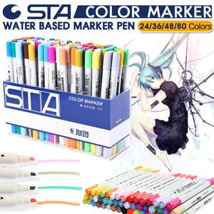 STA 24/36/48/80 Couleur Art Markers Set Artiste À Deux Têtes Croquis Huileux Marqueurs à base d'alcool Pour Animation Manga liner stylo