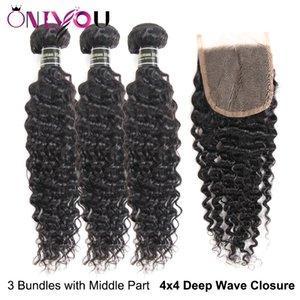 Brasiliana Onda profonda dei capelli umani 3 bundle con chiusura del merletto 9A indiani peruviani vergini di estensioni dei capelli onda profonda chiusura Bulk Bundles ordini