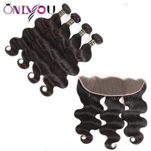 Fasci di capelli brasiliani di Onlyou Superior Supplier Body Wave tesse fasci con chiusura frontale peli di capelli vergini brasiliani estensione dei capelli