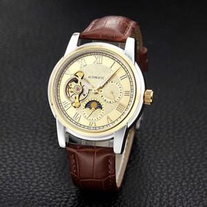 Orologi da uomo d'affari di lusso Meccanico Automatic Moon Fhase volano 40mm quadrante Cinturino in pelle impermeabile orologio da polso per uomo