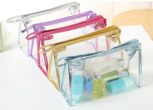 حار pvc شفاف حالة القلم أكياس القلم الحقيبة المرأة واضح للماء ماكياج تخزين pounch حقيبة مستحضرات التجميل شفافة
