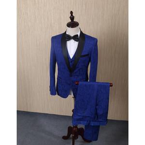 FOLOBE Azul Trajes de los hombres de Jacquard para la boda Novios Tuxedos Trajes de hombre Traje de padrinos de boda formal de negocios 3 UNIDS Chaqueta + Chaleco + Pantalones