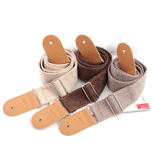 Free shipping Adjustable Guitar Bass Strap Cotton and Linen 80 - 140cm Length 5CM Width with PU Leather Head 3 Colors Optional Guitar strap