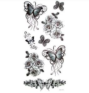 Tatuaggio temporaneo del tatuaggio della farfalla nera 3pcs 3d per trucco impermeabile degli autoadesivi della donna dell'uomo