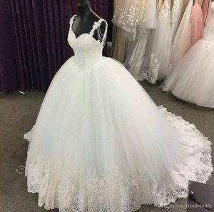 Luxury Lace Applique 2018 Spaghetti Straps Beads Plus Size Ball Gown Wedding Dresses Formal Bridal Gown Wedding Dress vestito da sposa