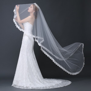 Neuheit Wedding Schleier eine Schicht Weiß Elfenbein-Brautschleier lange Hochzeit Zubehör-Spitze-Rand vestido de noiva schleier sluier