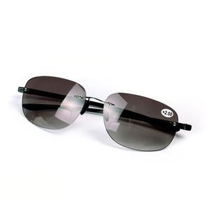 Bifocales de moda Gafas de lectura Gafas Hombres Gafas Gafas de sol de lente negra Lector de ojos fuera de buceo + 1.0 ~ + 3.5 Fuerza Lejos y Cerca