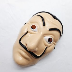 Commercio all'ingrosso pc / lotto Dali maschera di plastica Casa di carta La Casa De Papel Cosplay Decorazione Masquerade Halloween Divertente Strumento Salvador Dali Maschera