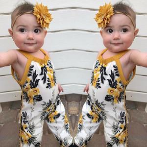 Butik Yaz Bebek Kız Giysileri Bebek Yaz Bebek Tulum Çiçek Baskı Sling Tulum Bebek Çocuk Giyim 1819