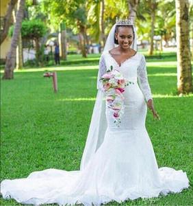 С длинным рукавом V-образным вырезом свадебные платья 2019 Русалка кружева длина пола свадебное платье труба бисером длина пола суд поезд свадебное платье
