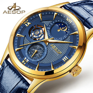 AESOP  Moon phase Calendar Blue Dial Gold Mens Mechanical Watches Top  Genuine Leather Strap Skeleton Watch