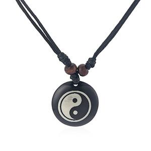 Charms 12pcs Nero Faux Yak Bone resina Yin Ying Yang Collana regolabile