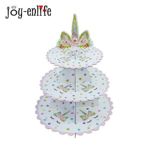 1set Unicorn Party Pink 3-tier Paper Cake Stand Baby Shower Supplies Kids Birthday Party Decoration Cupcake Stand Candy Bar