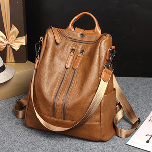 2018 new high quality ladies designer leather backpack European and American fashion backpack multi-function Mummy bag