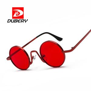 Dubery Red Steampunk-Sonnenbrille-Frauen Retro- Männer Hip Hop Punk Sun-Glas-Marken Ladys runde Brille Legierung Rahmen 3390