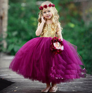 2018 Mignon Puffy Ball Robe Fleur Filles Robes Pour Le Mariage Paillettes D'or Top Fuchsia Tulle Pas Cher Toddler Filles Pageant Robes