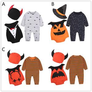 Bambino di Halloween rifornisce hat set 3pc + top romper + lungo tutina manicotto sveglio del fantasma dei vestiti di Holloween zucca Bat for 1-2T dei bambini delle ragazze ragazze