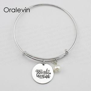 Femme merveille inspirée à la main estampé gravé pendentif fil extensible extensible femme Bracelet Bracelet cadeau bijoux, 10 Pcs / lot, # LN1610B