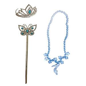 Neue Mädchen Cinderella Zubehör Sets Prinzessin verkleiden Partei Anzüge Crown + Schmetterling Zauberstab + Halskette XMAS Kostüm Tiaras Geschenke HH7-104