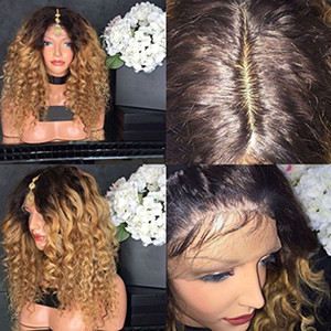 Ombre Blonde Kinky Curly Silk Top Полные кружевные парики с натуральными волосами 100% необработанные человеческие волосы Парики Отбеленные узлы Кружевные передние парики