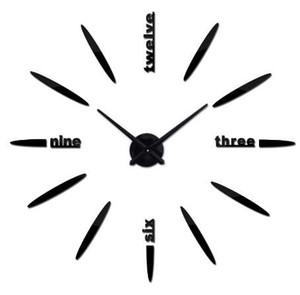 Sıcak satış büyük duvar saati acrylicmirror saatler horloge kuvars iğne ev dekorasyon oturma odası duvar sticker
