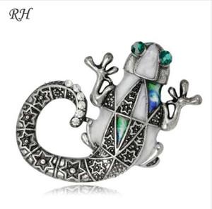 Vintage Metal Crystal Lizard Broche Para Las Mujeres Collar Pins Corsage Decoración Animal Broche Insignias Suéter Accesorios de Joyería
