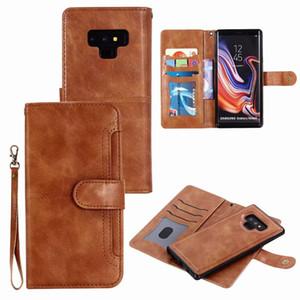 Aceite retro cartera con cuero para Iphone 12 11 XR XS MAX X 8 7 6 galaxy S20 Nota 10 Pro Vintage Mate extraíble desmontable 2en1 Portada del tirón