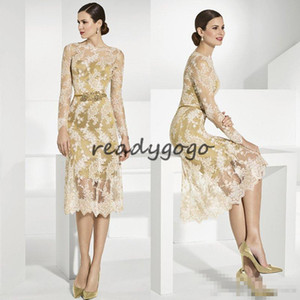 Gold Lace Mother Of The Bride Dresses With Long Sleeves Sheer Bateau Neck Sheath Wedding Guest Dress Tea Length Plus Size Evening Gowns