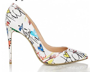 2018 New Genuine Leather Printed Floral Pointed Toe Women HIgh Heels Sexy Slip On Women Summer Pumps Shoes Women