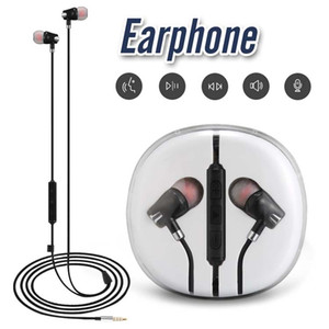 3.5mm AUX Wried Earphone per iPhone 6 Xiaomi A1 Cuffie Earbuds Jack In Ear Wired con Mic Controllo del volume con Crystal Box