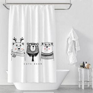 Rideaux de douche d'ours de bande dessinée Nordic étanche Salle de bain Rideau de douche 100% polyester Impression numérique Rideaux de salle de bain pour la décoration de la maison