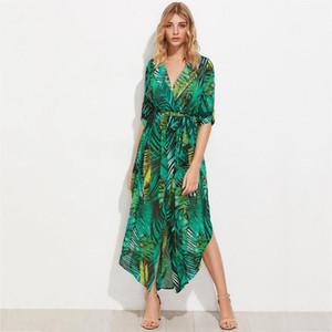 Vestito lungo dal manicotto verde stampa tropicale Abiti Boho maxi Vintage casual scollo a V Belt Lace Up tunica drappeggiato Dress Plus Size