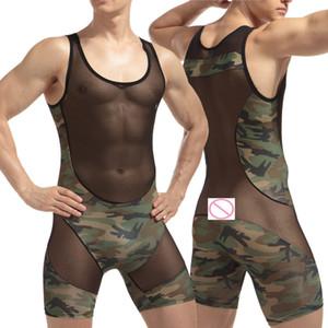 Uomo sexy rete trasparente a rete Pagliaccetti Intimo Wrestling Singlet Tuta Teddies GAY Underwear Body intimo