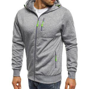 Mens veste sportive zippé à capuche à capuche manches longues fermeture à glissière couleur unie mince sweat-shirt décontracté gymnase à capuchon manteaux hauts