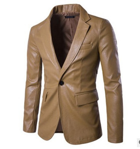 2018 new four seasons leather clothing Korean version of the business casual loose large size a buckle men's leather suit jacket