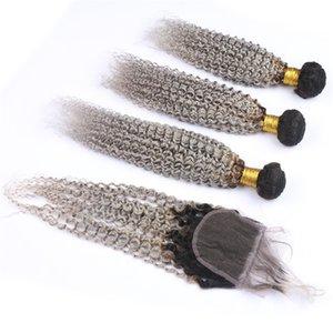 실버 그레이 옹 브르 인도 인간의 머리카락 번들 (4x4 레이스 클로저) Kinky Curly # 1B / 그레이 옹 브르 버진 헤어 위사 익스텐션 (클로저 포함)