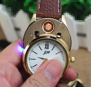 Электронные сигареты Зажигалки наручные часы USB зарядка зажигалки Курение ветрозащитный Наручные часы зажигалка с подарочной коробке Упаковка