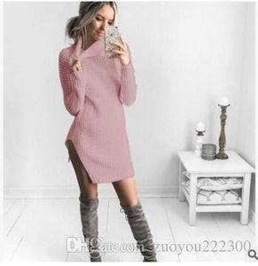 2018 nouvelles explosions, automne et split sexy hiver fourchette col roulé vestes robe pull, vêtements pour femmes fabricants directs directs s