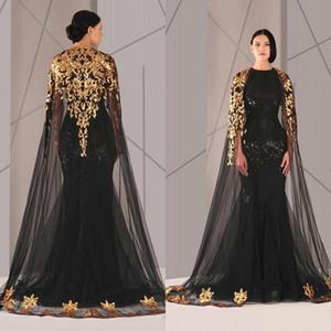 2020 schwarze arabischer Muslim-Abend-Kleider Tüll Umhang Gold und schwarze Pailletten Rundhalsausschnitt in Übergrößen Nixe-lange Pageant Abendkleid BA9284