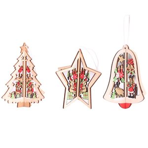 Tree Pendant Xmas Home Festival Ornaments Artigianato tridimensionale regalo 3D Hollow Out Carving Decorazione natalizia in legno 2 5hb hh