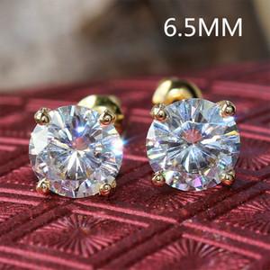 Transgems Cneter 1ct 6.5mm Moissanite Diamant Stud 14K 585 Or Jaune 2CTW Push Back Boucles D'oreilles Pour Les Femmes De Mariage Bijoux S923