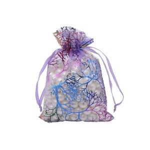 Gift Pcs Gift Bags Fashion Organza Jewelry PURPLE Pouch Candy 4 Organza Drawstring Bag SIZES Coral Bags DIY 100 Uoleg