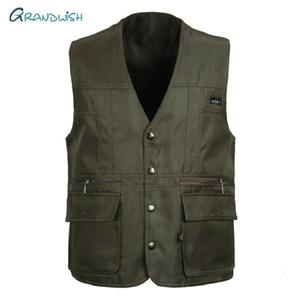 Grandwish Homens Coletes sem mangas de descarga Moda Coletes com muitos bolsos Jacket Masculino Mens Sólidos Tactical Vest, DA754