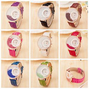 8colors Ladies Quicksand Ball Belt Watch Moda impermeabile PU Cinturino orologio al quarzo gioielli Strass orologio Novità articoli GGA816
