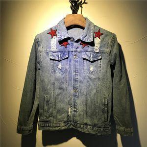 Giacche di jeans da uomo di alta qualità 2018 Giacche di jeans da uomo di alta qualità Giacche slim fit casual Streetwear Red star embroidery en Jean Clothing